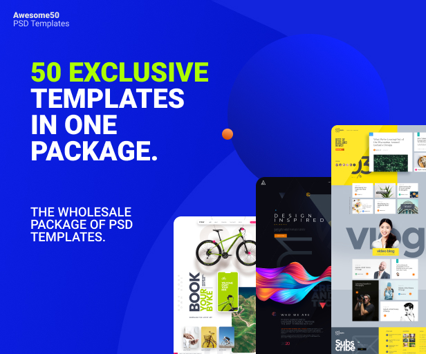 Awesome50 | A Wholesale Collection of 50 Multi Business Landing Pages and Home Pages PSD Template - 1