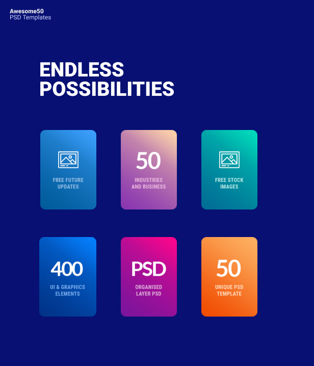 Awesome50 | A Wholesale Collection of 50 Multi Business Landing Pages and Home Pages PSD Template - 3