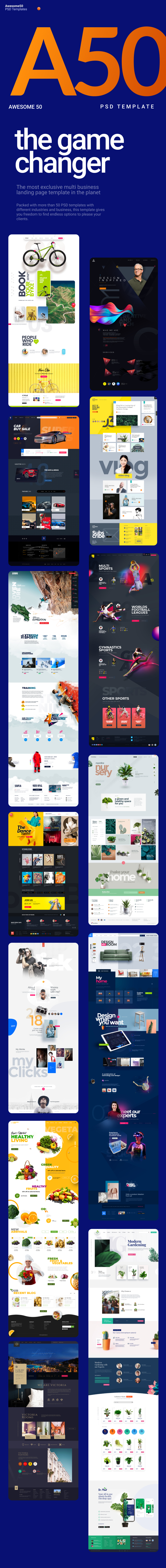 Awesome50 | A Wholesale Collection of 50 Multi Business Landing Pages and Home Pages PSD Template - 4