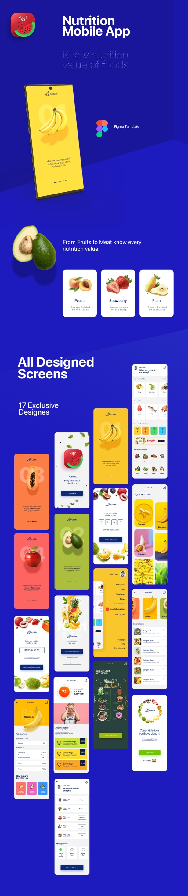 NutriMe | Online Nutrition Info Mobile App and Landing Page Figma Template - 1